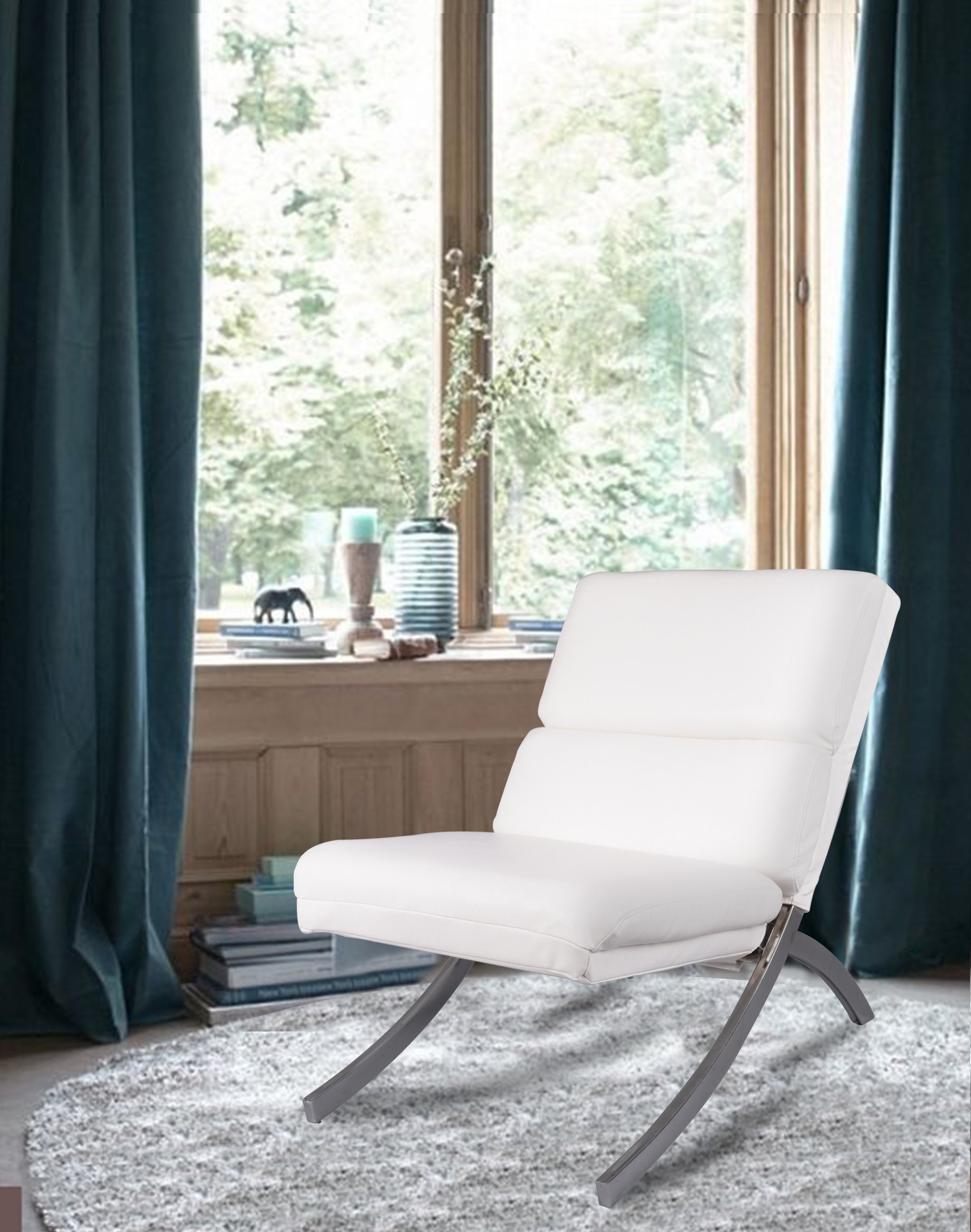 roundhill furniture wonda bonded leather accent chair with wood arms white fujimi massage cheap find get quotations chrome metal frame contemporary lounge