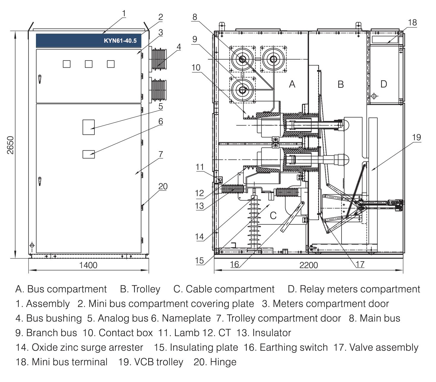 36kv Switchgear Vacuum Circuit Breaker Metal Clad Medium