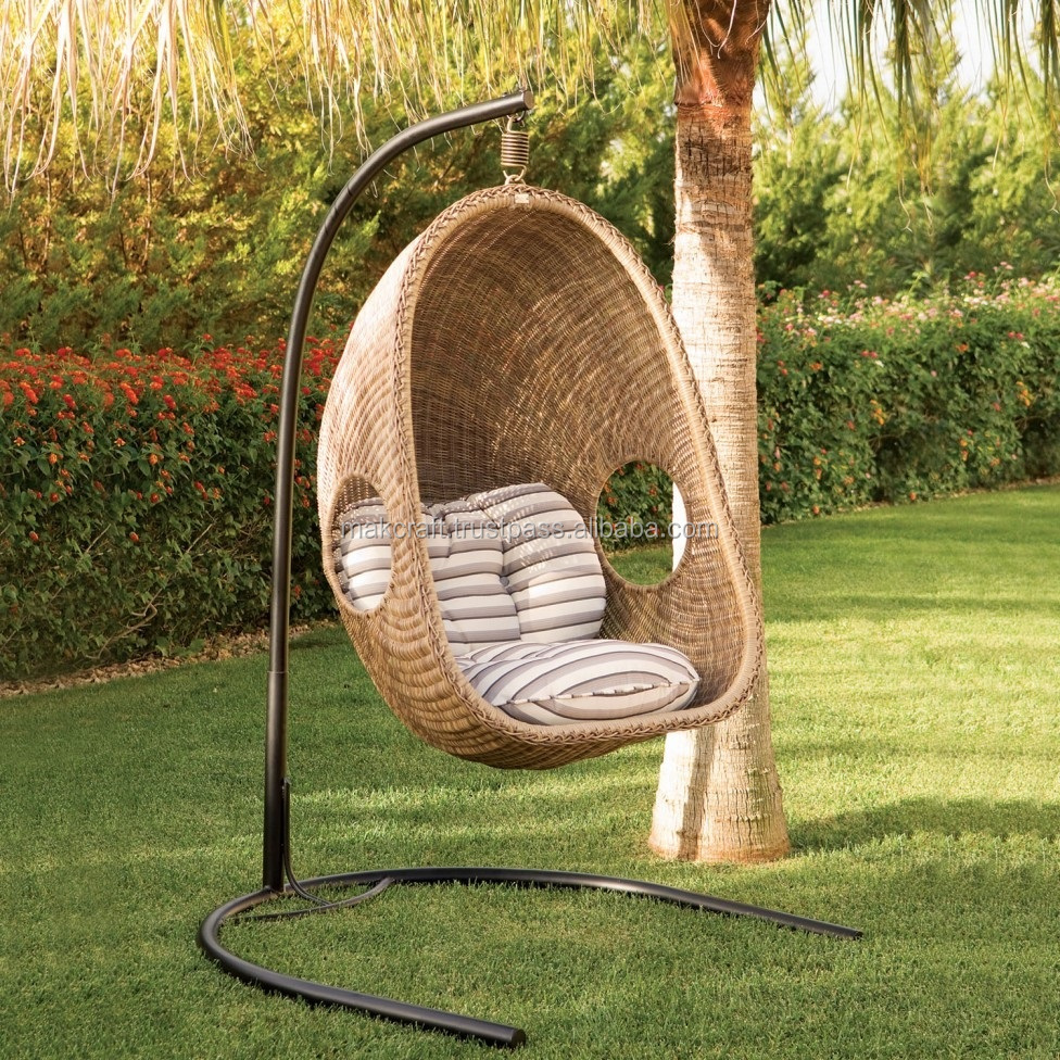 Hanging Chair Outdoor Synthetic Wicker Hanging Chair Outdoor Rattan Swing Chair Garden Furniture Outdoor Swing Chair With Steel Frame Power Coated Buy Garden Hanging