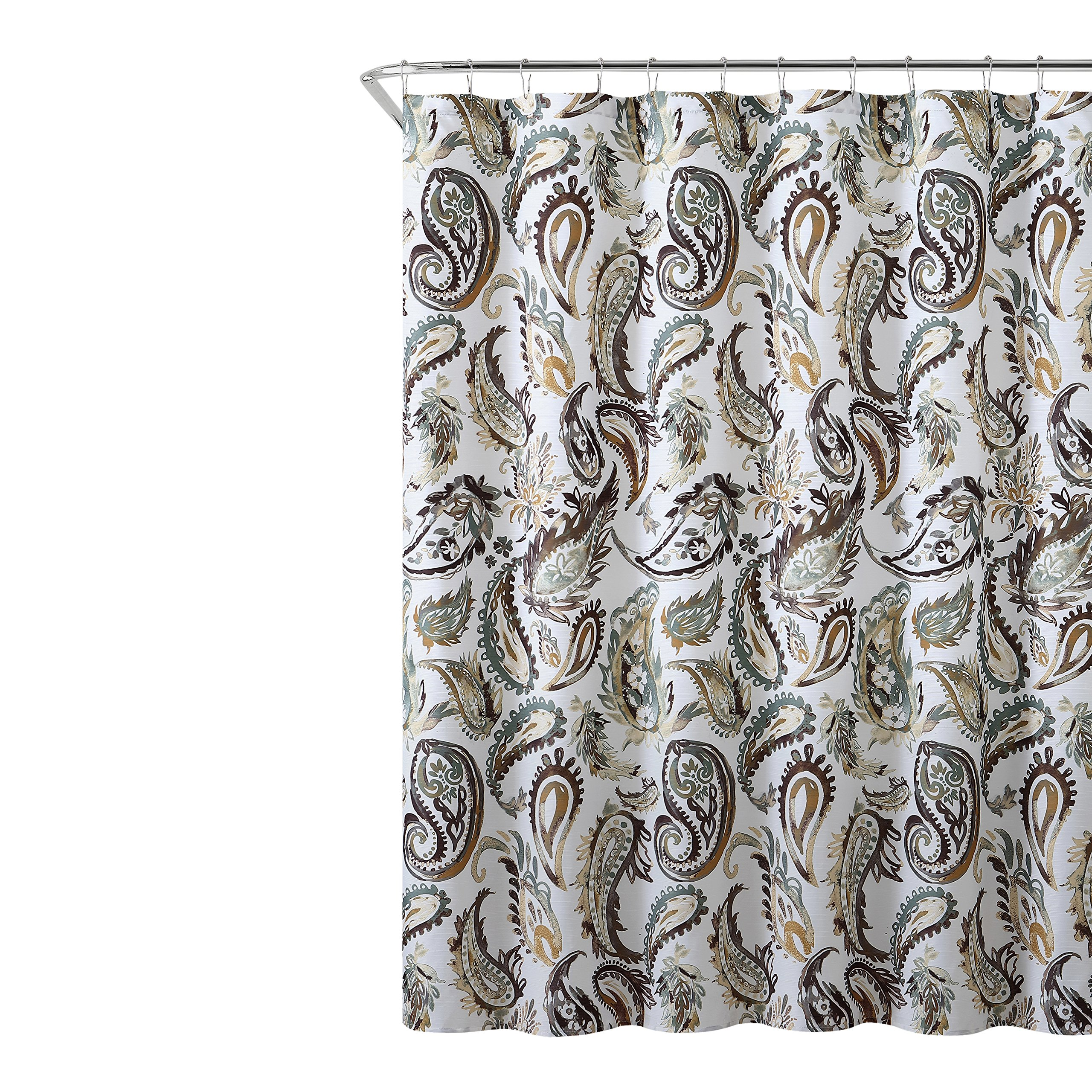 cheap green and brown shower curtain