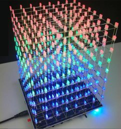 get quotations dingdong store electronic diy kit 3d squared led diy parts 8x8x8 5mm rgb led cube kit [ 1000 x 1000 Pixel ]