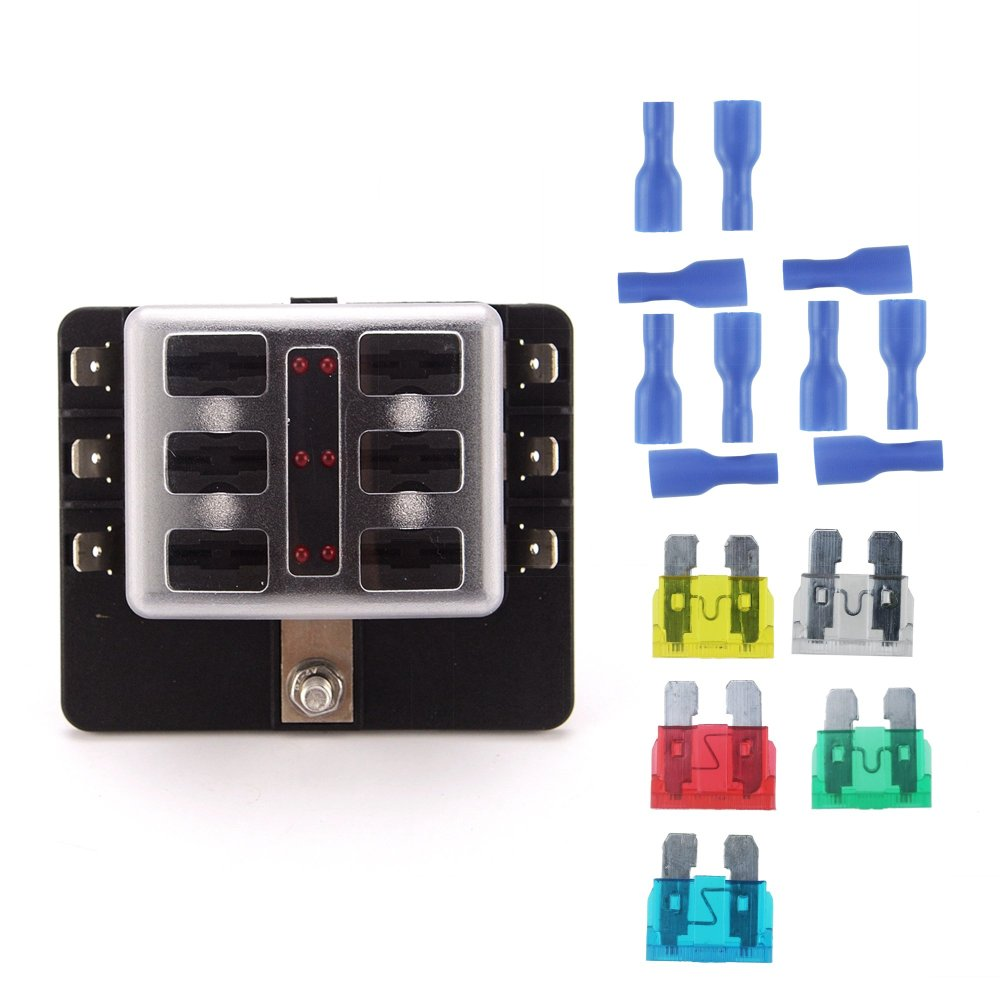 medium resolution of get quotations iztoss 6 circuit led fuse block fuse box with pc terminal with accessories and kits for