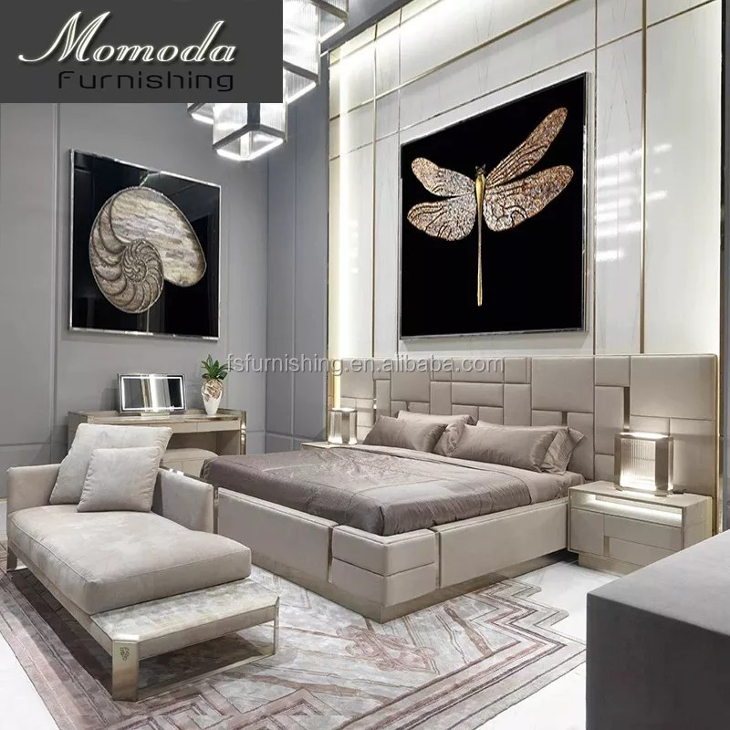 luxury italian bedroom set king size modern italian stainless steel double bed designer furniture set leather luxury home buy italian leather high
