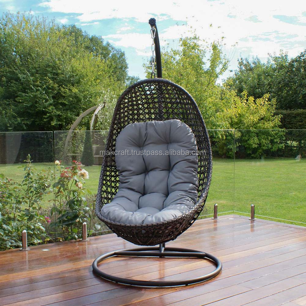 Hanging Chair Outdoor Steel Frame Power Coated Synthetic Rattan Wicker Patio Hanging Chair Outdoor Swing Egg Chair Black Color Gray Cushion Buy Wicker Hanging Egg