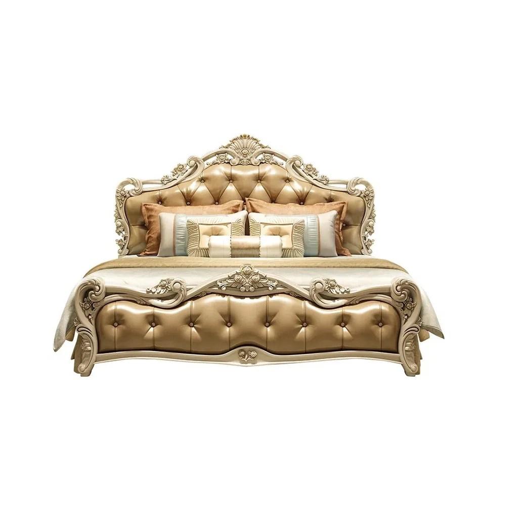 European Antique Design Bedroom Furniture Carved Upholstered Gold White Tufted Wooden King Queen Bed Buy Modern Bed Bed Room Furniture Storage Bed Product On Alibaba Com