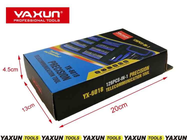 YAXUN YX6018 126 in 1 Precision Screwdriver Set Multi use Tool Bag Screwdriver Bit Set for Phone laptop Electronic Repair Tool