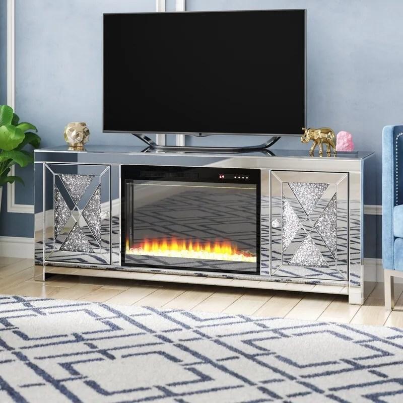 unite tv miroir avec foyer meuble tv en