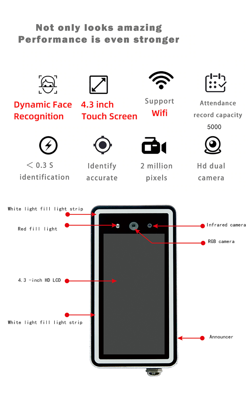 Haiwei Ky4 Dynamic Face Recognition Wifi Access Control