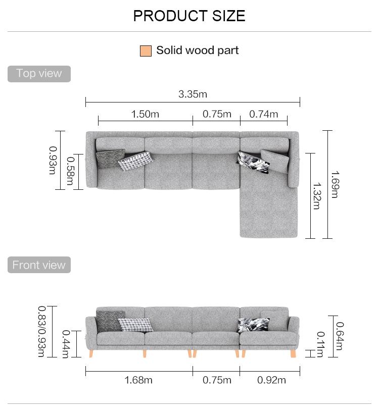 Living Room Furniture Settee Sofa Factory Price Modern Sectional Sofa 5 - 15 Days Solid Wood Feet European Style Fabric Modular