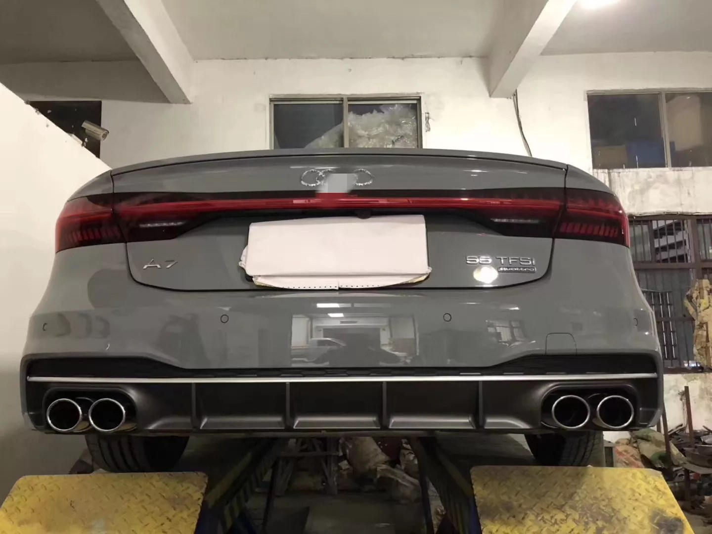 for audi a7 2019 2020 change to s7 rear lip and tail lip bumper parts buy new a7 2019 to s7 high quality rear diffuser with tips and exhaust