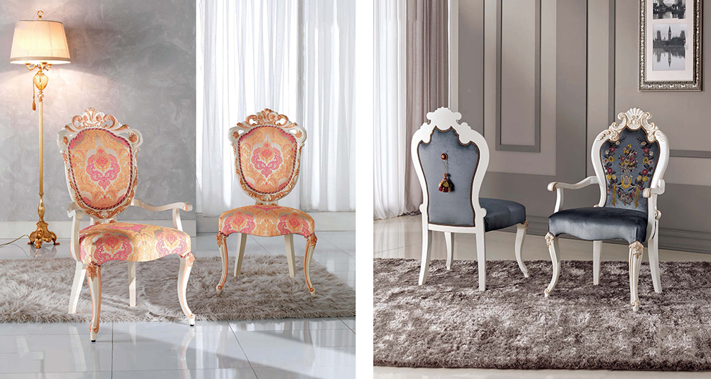 Classic French dining chair wood carving white banquet chair for hotel home
