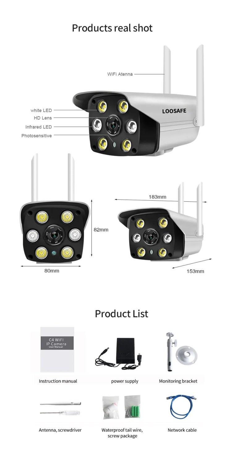 IP66 Waterproof Weatherproof Wireless 1080P IP Wifi Camera Full Color Night Vision support cloud storage