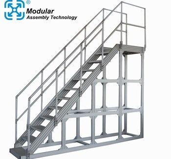 Prefab Industrial Aluminum Maintenance Platform Removable Stairs   Aluminium Handrails For Stairs   Guardrail   Exterior   Wood Wall Mounted Stair   Copper   Glass Balustrade