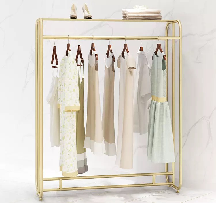 wholesale modern customized display stand retail metal hanging clothes display racks garment store furniture gold clothing rack buy garment gold