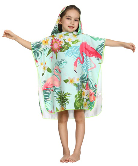 Wholesale Custom Microfiber Kids Hooded Poncho Beach And Surf Changing Towel