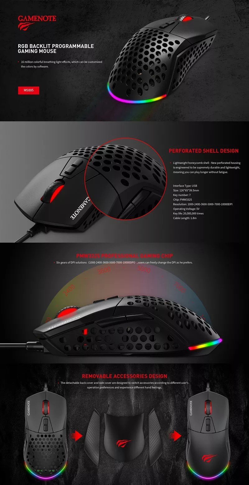 Havit Mouse Software : havit, mouse, software, Havit, Honeycomb, Light, Weight, Gaming, Mouse, Pmw3325, Programmable, Software, Holes, Gamer, Ms885, Mouse,Professional, Software,Havit, Wired, Product