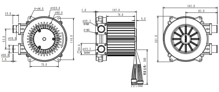 110mm Diameter 32kpa 15cfm Air Flow Fuel Cell Used 48v Dc