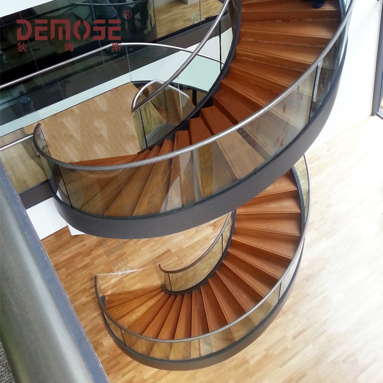 Luxury Stairs The Public Library Large Solid Wood Glass Spiral   Staircase Wood And Glass   Commercial Wood   New   Ash Wood   Simple Glass   Glass Bal