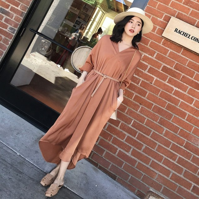 ASM ANNA Spring summer long sleeves women over knee long skirt new silk elegant shirt dress
