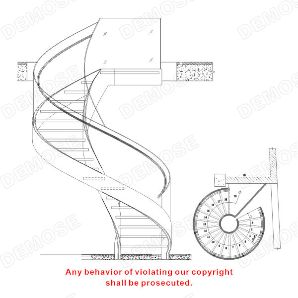 Circular Iron And Steel Stairs With Glass Railing Decorate