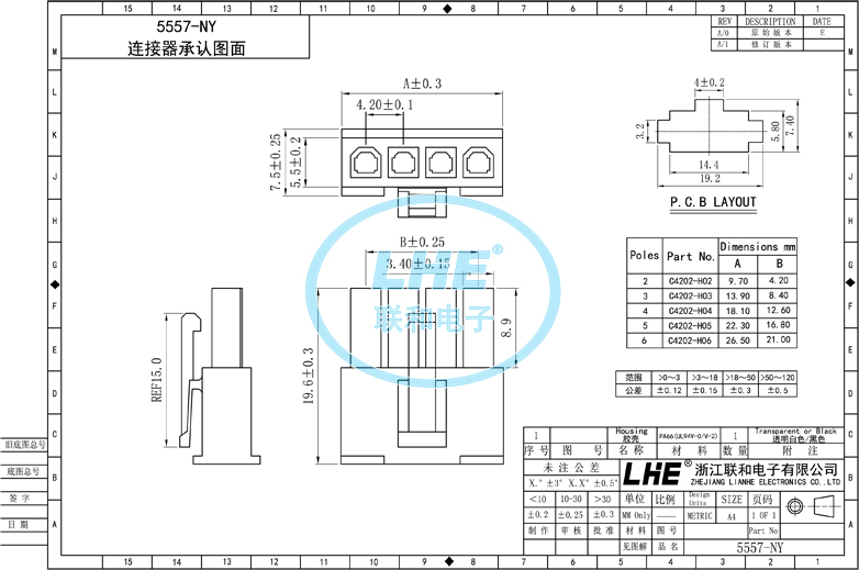 2-pin socket connector, View connector, LHE Product