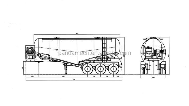Hot Sale 3 Axles 72cbm 90tons Cement Bulker Tank Semi