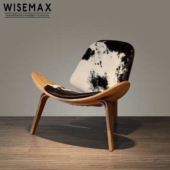 shell chair replica round back living room chairs europe style wegner three legged pony leather bebtwood smile
