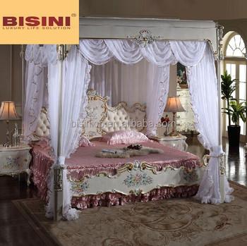 Italian Royal Bedroom Furniture Luxury Upholstered Canopy