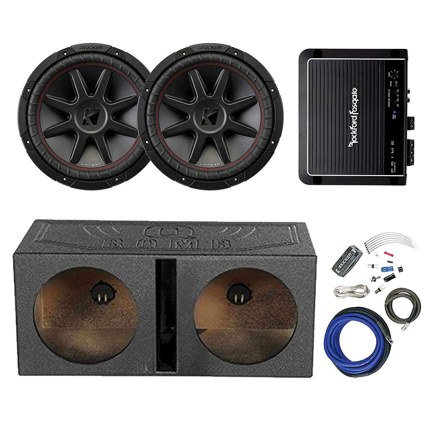 hight resolution of get quotations 2x kicker 12 800 watt 4 ohm car audio subwoofer and qpower qbomb12v 12