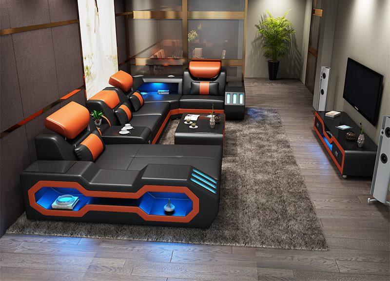 HTB1.jXdSQvoK1RjSZFwq6AiCFXan Custom made modern design LED lights Music player living room sofa set leather sofa