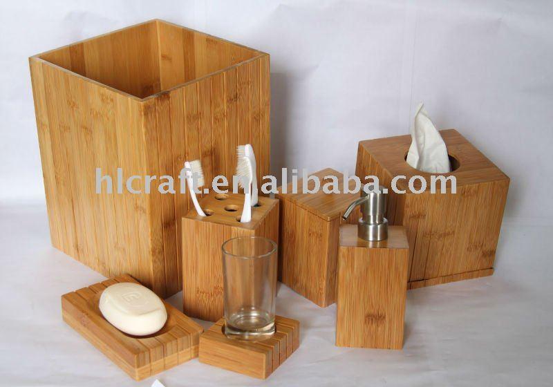 accessoire salle de bain en bambou