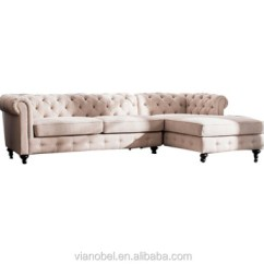 Tufted Linen Sectional Sofa Loveseat Stretch Covers Beige Chesterfield 5 Seats Living Room Furniture New