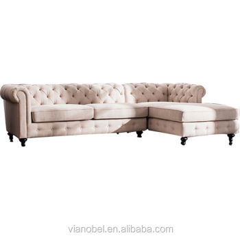 chesterfield sectional sofa suppliers affordable sofas online beige linen tufted 5 seats living room furniture new