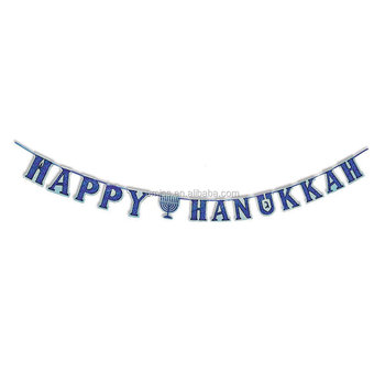 Happy Hanukkah Letter Banner,Decorations On Ribbon 75