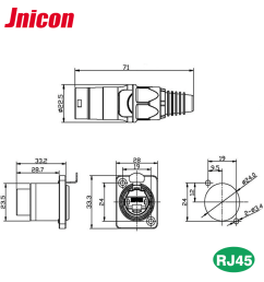 ip68 front panel mounted male female waterproof rj45 connector with ethernet cable [ 1000 x 1000 Pixel ]