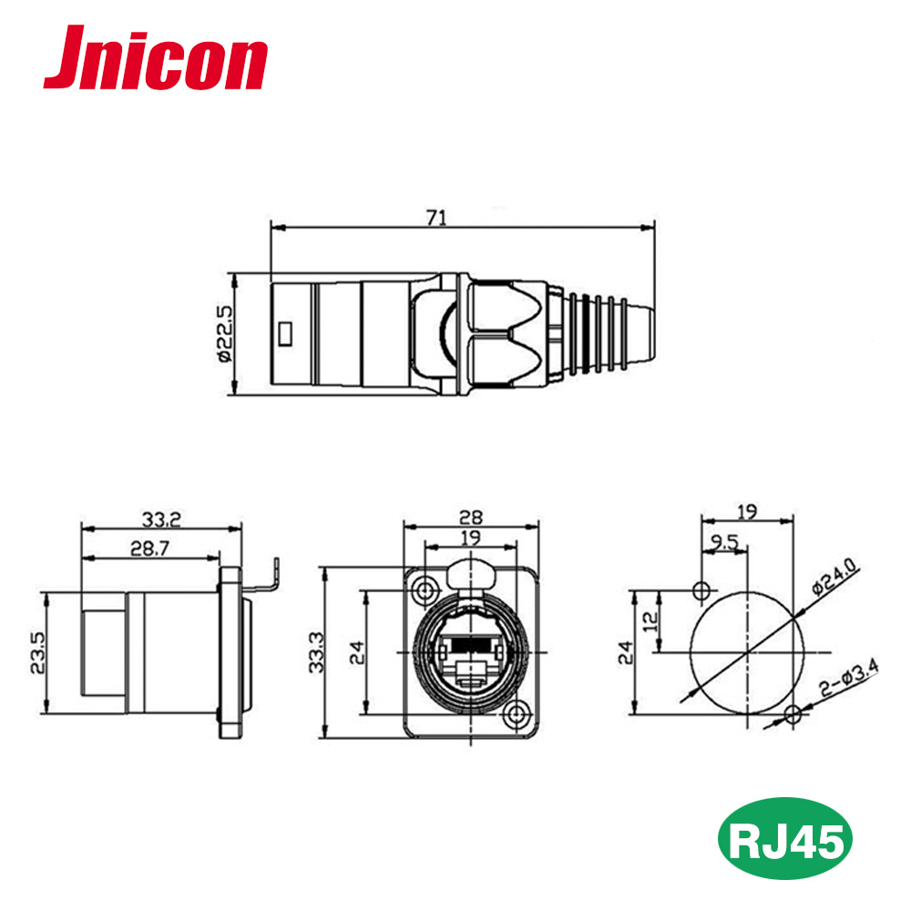 medium resolution of ip68 front panel mounted male female waterproof rj45 connector with ethernet cable