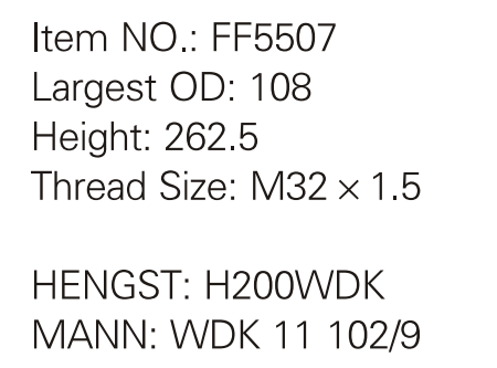Truck Fuel Filter Oil Filter Ff5507 For Hengst H200wdk