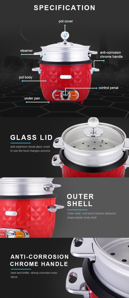 small resolution of superior insert automatic simple style aluminium pot plastic body small cooker with steamer red rice cooker