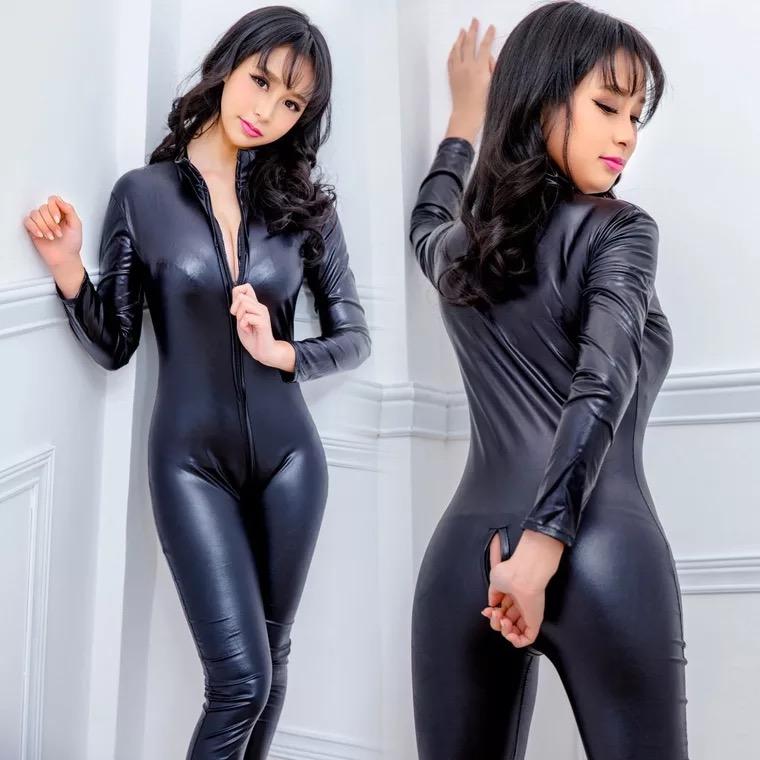 s 6xl sexy noir simili cuir catsuit pvc latex body avant fermeture a glissiere ouverte entrejambe extensible clubwear erotique pole dance combinaison