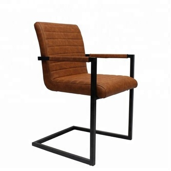 metal frame leather dining chair baby high modern wholesale restaurant french style vintage retro sillas industrial cognac with
