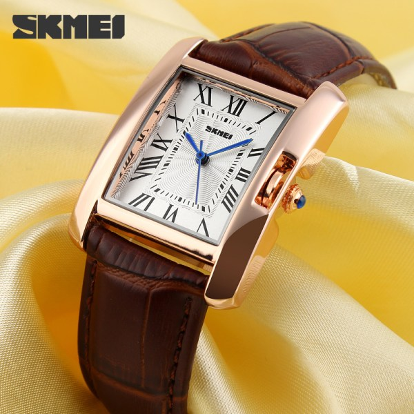 Skmei 1085 Ladies Square Face Genuine Leather Strap Watch