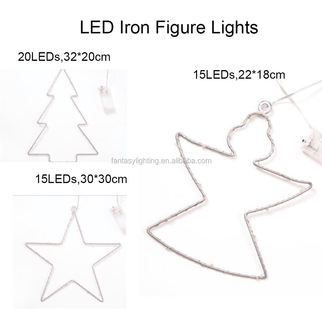 Led Iron Tree Angel Star Copper Wire Micro String Light