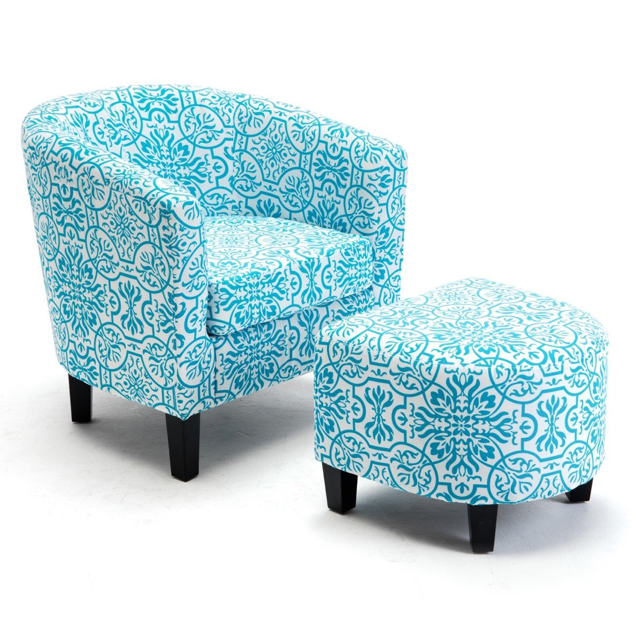 floral upholstered chair luxury beach chairs cheap find deals belleze modern barrel accent with ottoman footrest set blue print
