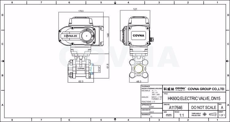 3 Pcs High Pressure Full Welded 220v Motorised Ball Valve