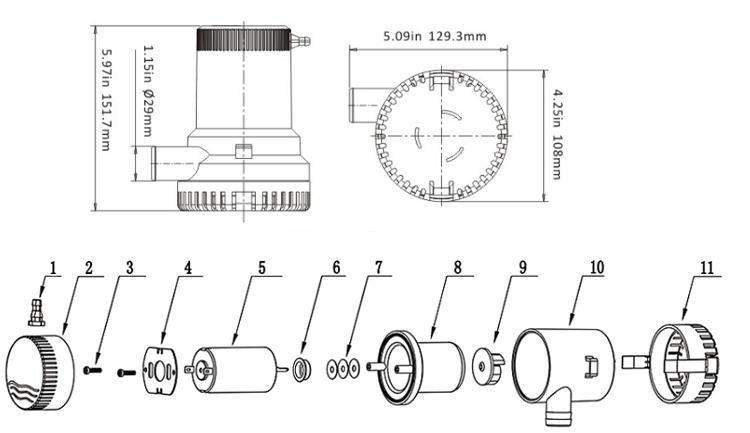 High Quality Singflo 12v High Flowsubmersible Bilge Water