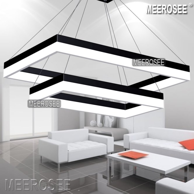 Acrylic Led Pendant Light Modern Rectangle Design Black Suspension Fixture Gold Dining Room Lamp Md5062