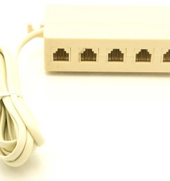 5 outlet modular jack adapter phone jack extension line cord modular single jack  [ 2560 x 2008 Pixel ]