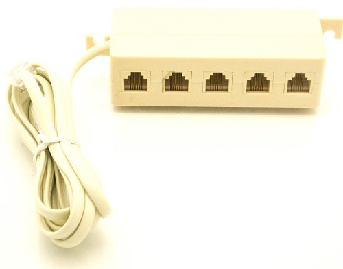 small resolution of get quotations 5 outlet modular jack adapter phone jack extension line cord modular single jack