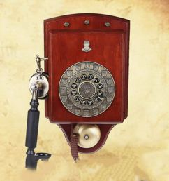 vintage decorative phone luxury wall hanging american retro wall mount solid wood fixed telephone rotary dialing [ 1001 x 1001 Pixel ]