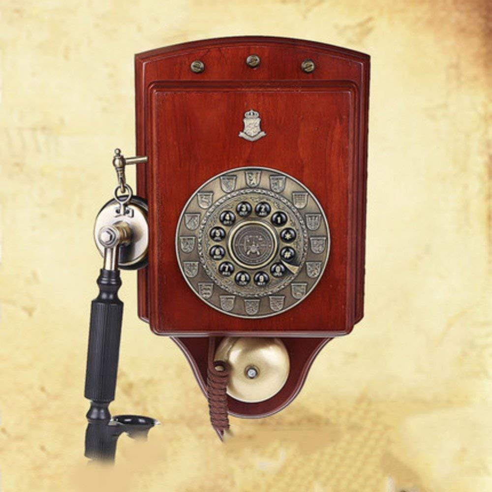 medium resolution of vintage decorative phone luxury wall hanging american retro wall mount solid wood fixed telephone rotary dialing